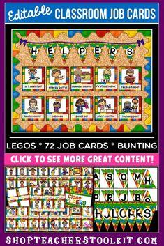 Lego Classroom Theme, Classroom Job Chart, Monster Classroom, Classroom Hacks, Special Education Classroom, Classroom Displays, Future Classroom, Classroom Organization, Teaching Kindergarten
