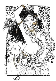 Govinda by Amrita Gauri Radha Krishna Sketch, Krishna Drawing, Bal Krishna, Krishna Art, Krishna Leela, Shree Krishna, Lord Krishna Images, Radha Krishna Pictures, Madhubani Art