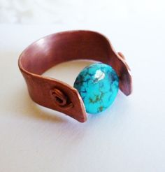 Copper Turquoise Band Ring by majesticwireartworks on Etsy, $25.00