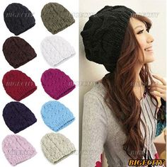 Fashion Winter Autumn Ladies Women Casual Cable Knit Knitted Crochet Acrylic Beanie Hat Cap 10 Color US $1.95