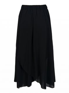 Non-stretch chiffon fabric;Stretch waist;High rise;Fully lined;Wrap side;Hand wash cold;100%Polyester