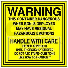Hazardous Military Mom Mug and too funny not to save.