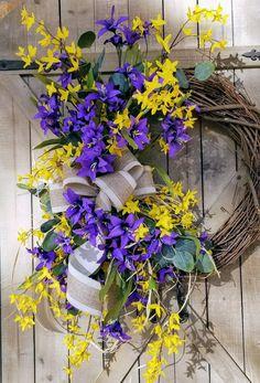 "22"" Forsythia Purple Tiger Lily Wreath, Yellow Purple Wreath, door Wreath, Summer Wreath, Front Door Wreath, Forsythia door wreath by FarmHouseFloraLs on Etsy"