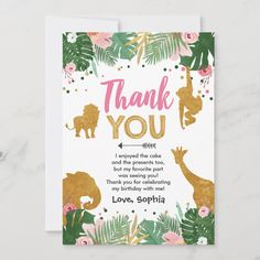 """Safari birthday Animals Wild one Thank You Card Size: 5"""" x 7"""". Color: Matte. Gender: unisex. Age Group: adult. Dinosaur Birthday Invitations, Dinosaur Birthday Party, Animal Birthday, Third Birthday, First Birthday Parties, First Birthdays, Birthday Ideas, Birthday Gifts, Happy Birthday"""