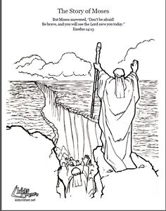 Story of Moses. Coloring page, script and Bible story. http://kidscorner.reframemedia.com/bible/stories/the-story-of-moses/
