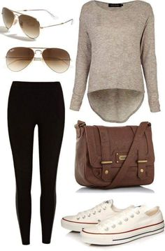 Full Sleeves Long Back Round Tee with Black Leggings, Sneakers and Sunglasses