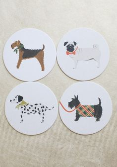 Cutie Canine 8 Coaster Set By Rifle Paper Co. | Modern Vintage Eco-Friendly