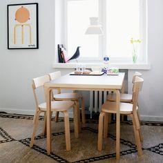 Artek - Table the rectangular table by Alvar Aalto for Artek in our online shop Dining Room Design, Dining Area, Dining Chairs, Dining Table, Wood Table, Alvar Aalto, Table Furniture, Furniture Design, Scandinavian Chairs
