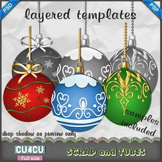 Christmas Ball Templates 4 - 3 psp and 3 psd layered templates ready for you to be colorized - Samples included - CU4CU