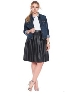 View our Faux Leather Skater Skirt and shop our selection of designer women's plus size Skirts, clothing and fashionable accessories. Chubby Fashion, Girl Fashion, Womens Fashion, Plus Size Skirts, Plus Size Outfits, Full Skirts, Short Skirts, Leather Skater Skirts, Leather Skirt