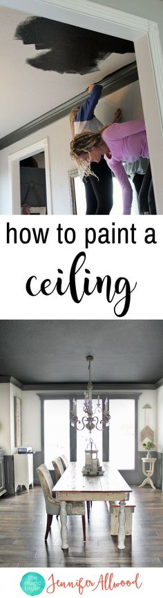 How to paint a ceiling ... black! Painted Black Ceiling in the Dining Room | Ceiling Painting Tips | Magic Brush | Painted Ceiling Ideas | Tricorn Black Sherwin Williams