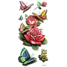 5Pcs Waterproof 3D Series Rose Butterfly Pattern Tattoo Stickers -- Check out the image by visiting the link. (This is an affiliate link) #NoveltyGagToys