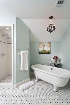 chandelier over bathtub | Chandelier over Tub -French - bathroom - Renewal Design Build