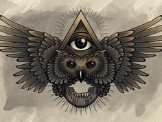 All Seeing Eye incorporated with an owl and skull motif. ☮ All Seeing EYE… Third Eye Tattoos, All Seeing Eye Tattoo, Chest Piece Tattoos, Chest Tattoo, Tattoo Sketches, Tattoo Drawings, Buho Tattoo, Illuminati Tattoo, Psychedelic Tattoos