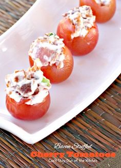 Bacon Stuffed Cherry Tomatoes | Can't Stay Out of the Kitchen | awesome #appetizer uses only 5 ingredients!