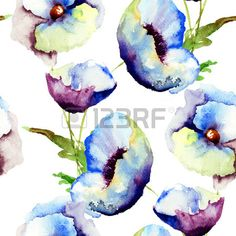 Naadloze patroon met mooie blauwe bloemen, schilderen van de waterverf