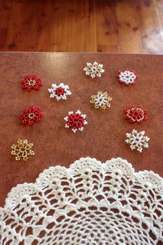 Table Confetti; 10 Beaded Lacy Flowers; Red, Gold, & White; Table Decor; Table Scatter; Wedding Confetti; Party Confetti