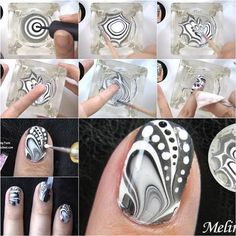 Nail Art Designs for Teens – How to Make Amazing Water Marble Nail Art – Awesome … - Diy Nail Designs Nail Art Diy, Cool Nail Art, Diy Nails, Fancy Nails, Cute Nails, Pretty Nails, Water Marble Nail Art, Marble Art, Water Art