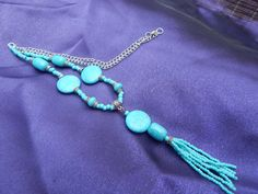 Tassel Necklace Turquoise Aqua Silver by TheVelvetMannequin