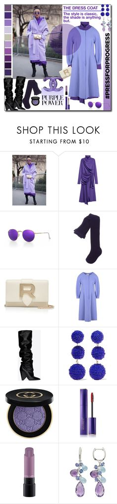 """Purple Power Street Style"" by sylandrya ❤ liked on Polyvore featuring H&M, Ray-Ban, Armani Collezioni, Yves Saint Laurent, Kenneth Jay Lane, Gucci, Estée Lauder, MAC Cosmetics, purplepower and internationalwomensday"