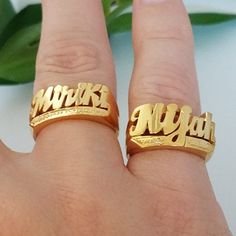 Name rings for any finger style.any name size and color Buy Diamond Ring, Diamond Jewelry, Gold Finger Rings, Real Gold Jewelry, Name Rings, Gold Price, Beautiful Rings, Rings For Men, Stuff To Buy