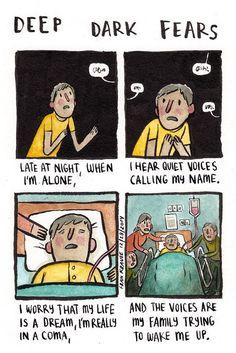 Deep Dark Fears by Fran Krause. Cute Comics, Funny Comics, Creepy Comics, Fran Krause, Scary Creepy Stories, Creepy Things, Scary Facts, Creepy Stuff, Random Stuff