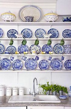 Brabourne Farm: Hot Plates  BLUE, WHITE, YELLOW & GREEN  is this gorgeous or what!?! (from Kj-normally I don't care for open shelving for the kitchen, yet this somehow speaks to me) simply gorgeous...