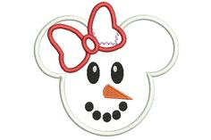 Snowman Girl Embroidery Design Minnie Mouse