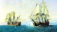 """Combate de """"El Catalán"""" de 62 cañones contra el """"HMS Mary"""" de 60 cañones, que se retiró de la acción"""
