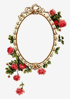 Antique Images: Free Digital Printable Label and Pink Rose Flower Frame