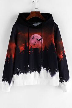 ZAFUL Halloween Forest Bat Moon Print Drawstring Hoodie ZAFUL Halloween Forest Bat Moon Print Drawstring Hoodie Clothing Style: Hoodie Collar-line: Hooded Length: Regular Sleeves Length: Full Material: Polyester Pattern Style: Bat,Moon Seasons: Autumn Cute Emo Outfits, Edgy Outfits, Cosplay Outfits, Hooded Sweatshirts, Hoodies, Teen Fashion Outfits, Hoodie Outfit, Aesthetic Clothes, Pattern Fashion
