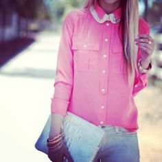 Look, summer casual- not too sure about the double collar but love the pink blouse and white jeans. Everything else needs to be super simple
