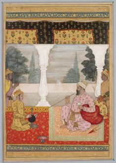 Nobleman smoking on a terrace (front)   © Ashmolean Museum, University of Oxford