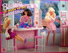 Barbie So Much To Do Sweet Shop Playset 1995 Arcotoys, Mattel Barbie Doll Set, Barbie Sets, Barbie Doll House, Barbie World, Mattel Barbie, Barbie Dream, Ag Dolls, Vintage Barbie, Vintage Toys