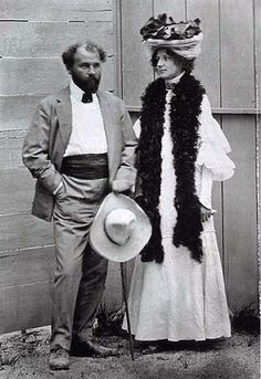 Gustav Klimt and Emilie Flöge During Klimt's lifetime it was widely assumed that he and Emilie Floge were lovers however that is most likely not the case. The surviving correspondence between the two is voluminous, yet entirely platonic. Klimt never. Klimt, Artist Studio, Painter, Artist, Painting, Gustav Klimt, Artist Models, Klimt Art, Symbolist