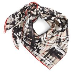 Women's Burberry Scribble Vintage Check Silk Square Scarf ($420) ❤ liked on Polyvore featuring accessories, scarves, stone, vintage silk scarves, burberry scarves, square scarves, print scarves and silk shawl