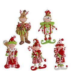RAZ Elf Candy Claydough Christmas Ornament Set of 5  .. I need to start making my Xmas CandyLand