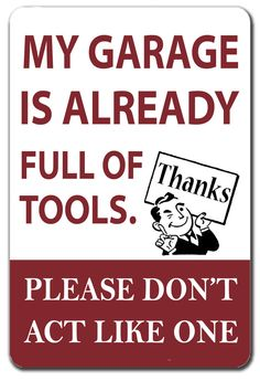Funny garage sign fathers day gift