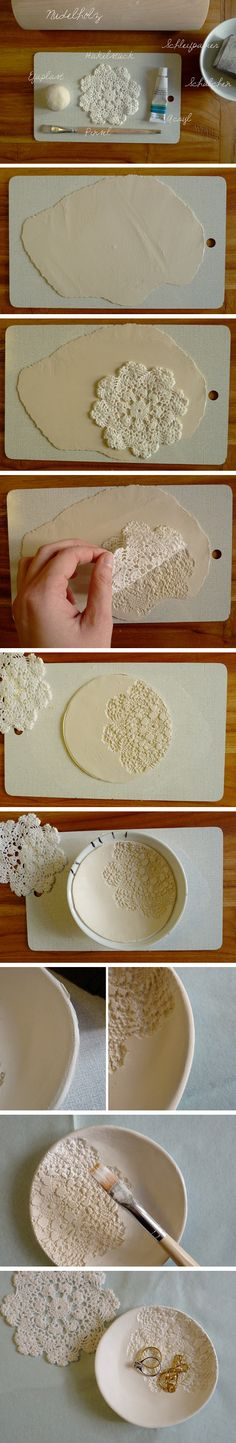 This how-to is crazy simple. I see an air-dry clay crafting party in my future. Wanna come?   PS- Make great bridesmaids gifts. VIA A Bit of Bees Knees/ Duitang     See more Quick-n-Dirty DIY ideas right here at The Snug