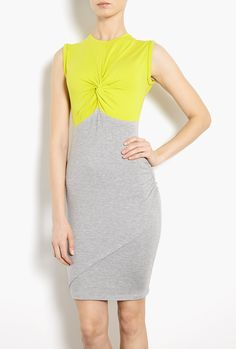 Chartreuse Twist Top Jersey Dress by Carven