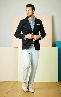 Blue Blazer, white/blue shirt, white trousers, white pocket square, white shoes