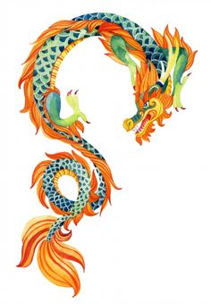 Poster of Chinese Dragon. Traditional symbol of dragon. - Poster of Chinese Dragon. Traditional symbol of dragon. Watercolor hand painted … – Poster of - Chinese Dragon Art, Chinese Dragon Tattoos, Chinese Art, Dragon Illustration, Illustration Vector, Illustrations Posters, Dragon Tattoo For Women, Dragon Tattoo Designs, Design Dragon