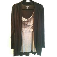 Lane Bryant Black & Gray 2fer Cardigan Top 18/20 This Lane Bryant Black & Gray 2fer Cardigan Top is a size 18/20 in good used condition. The outer 'layer' has the look of a black open cardigan in soft, stretchy fabric. It has a built in 'shirt ' layer with ruffles and mesh. When you put it on, it looks like 2 pieces, but it's just one lightweight, stretchy top. Fits true to size, but best for size 18 or even a 16 woman if you prefer it loose. 30 to 32 inches long. ::: Bundle 3+ items from my…