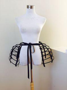 New-Black-Crinoline-long-cage-hoop-bustle-skirt-double-pannier-one-size