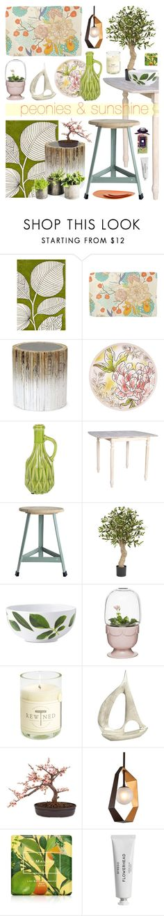 """""""Peonies & Sunshine"""" by ladomna ❤ liked on Polyvore featuring interior, interiors, interior design, home, home decor, interior decorating, Palecek, Fitz & Floyd, A by Amara and House Doctor"""