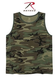 vintage woodland camo tank top  super soft washed cotton/poly fabric, tagless label. sizes: sm, md, lg, xl. color: woodland camo.  http://www.armynavyshop.com/prods/rc9593.html