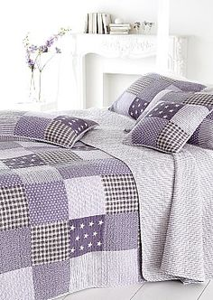 Pretty Purple Star Patchwork King size quilt | Coast & Country Interiors