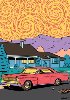 """Cool illustrations by Kristian Hammerstad, an illustrator and animator based in Oslo, Norway. """"The work of Kristian Hammerstad is simultaneously reminiscent of old garage metal… Trippy Painting, Hippie Painting, Hippie Art, Arte Pop, Retro Art, Vintage Art, Psychedelic Art, Pics Art, New Wall"""