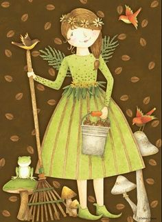 Just beautiful! Decoupage Printables, Fall Projects, Art For Art Sake, Naive Art, Country Art, Angel Art, Pretty Art, Fall Halloween, Quilting Designs