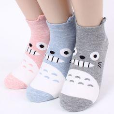 totoro socks 3pairs is 1set women n girls  socks japanese character funny low socks  made in korea